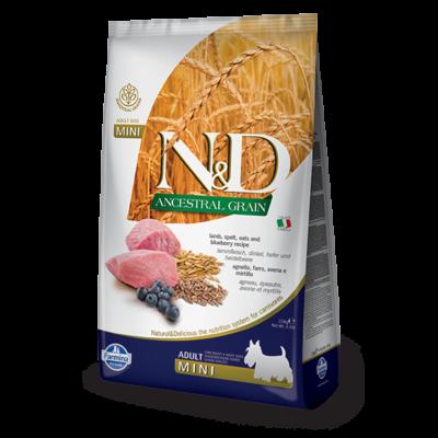 N&D Ancestral Grain Dog bárány, tönköly zab, áfonya Adult mini