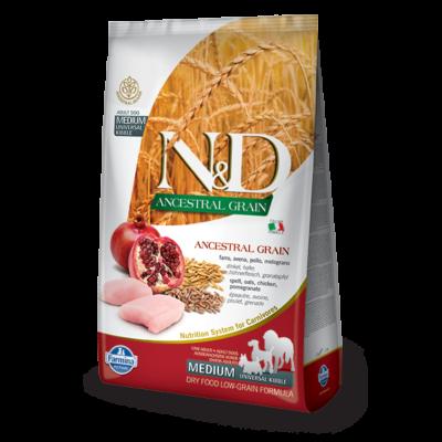 N&D Ancestral Grain Dog csirke, tönköly és gránátalma Adult Medium/Maxi