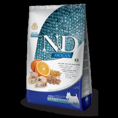 N&D Dog Ocean tőkehal, tönköly, zab és narancs adult mini