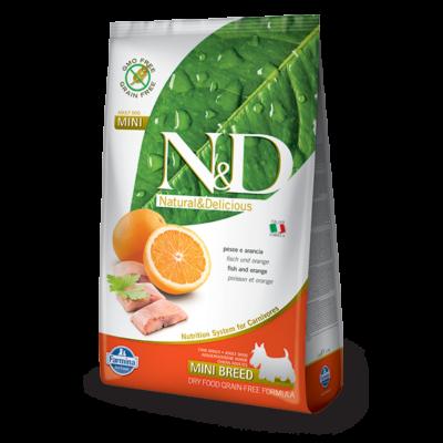 N&D Grain free tőkehal és narancs Adult Mini 7 Kg