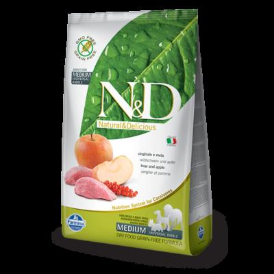 N&D Grain free vaddisznó és alma Adult Medium 2,5 Kg