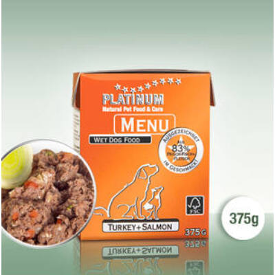 Platinum Menu Pulyka + Lazac nedves kutyatáp (375 g)